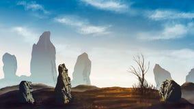 Prado de Brown com pedra grande, árvore e o céu nebuloso Pintura de Digitas ilustração stock