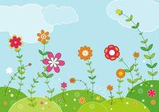 Prado de flores, vector   ilustración del vector