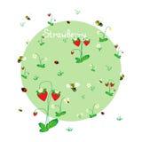 Prado de la fresa con los animales stock de ilustración