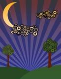 Prado de la noche con los árboles ilustración del vector
