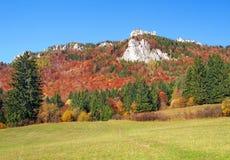 Prado e rochas no vale de Vratna, Eslováquia Fotos de Stock Royalty Free