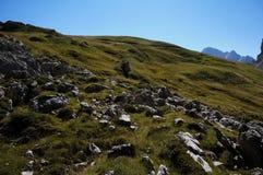 prado e rochas verdes na passagem do pordoi Fotografia de Stock Royalty Free
