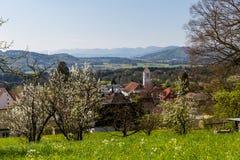 Prado en la montaña Heitersberg con la opinión a Jura Chain, cerca de Zur Imágenes de archivo libres de regalías