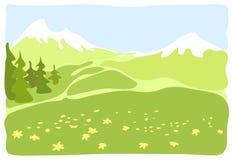 Prado en un valle de la montaña. Imagen de archivo
