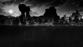 Prado escuro com ruínas antigas e castelo ilustração royalty free