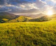 Prado herboso en montañas en la puesta del sol Imagen de archivo