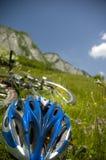 Prado hermoso con las flores y la bicicleta Foto de archivo