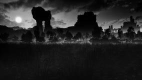 Prado oscuro con ruinas antiguas y el castillo libre illustration