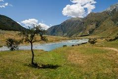 Prado pacífico con el río y las montañas verdes Foto de archivo