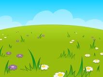 Prado verde bonito dos desenhos animados de encontro ao céu azul Imagens de Stock Royalty Free