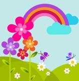 Prado verde con la mariposa, el arco iris y las flores Fotografía de archivo