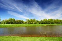 Prado verde e rio calmo Fotos de Stock