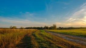Prado verde sob o céu com nuvens, vídeo do por do sol do lapso de tempo filme