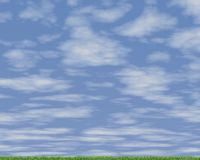 Prado verde y cielo azul Fotos de archivo libres de regalías