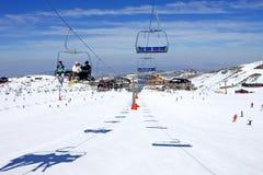 pradollano手段滑雪倾斜西班牙 免版税库存图片