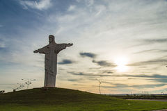 Pradopolis, Sao Paulo countryside State. Oponed arms Christ stat. Ue in sunset stock image
