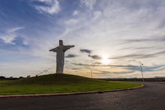 Pradopolis, Sao Paulo countryside State. Oponed arms Christ statue in sunset royalty free stock photo