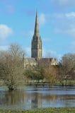 Prados da catedral de Salisbúria e da água inundada Foto de Stock