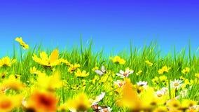 Prados e flores verdes ilustração do vetor