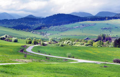 Prados verdes acima da vila de Bobrovnik imagem de stock