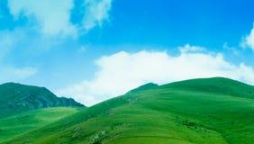 Prados verdes de las montañas Fotografía de archivo
