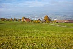 Prados verdes sobre el lago Alfalfa, montañas, Suiza Fotografía de archivo libre de regalías