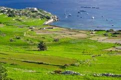 Prados verdes y mar azul Foto de archivo libre de regalías