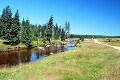 Prados y río de Wielka Izera Foto de archivo
