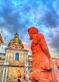 The Praetorian Fountain and the San Giuseppe dei Teatini Church in Palermo, Italy. The Praetorian Fountain and the San Giuseppe dei Teatini Church in Palermo Stock Image