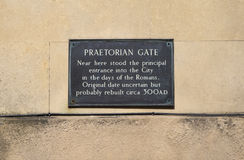 Praetorian Gate Plaque in York Stock Images