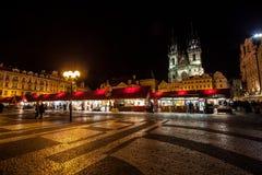 Prag-alte Stadt nachts Lizenzfreies Stockfoto