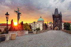 Prag-Ansicht von Charles Bridge Lizenzfreie Stockfotos