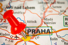 Prag auf einer Karte Stockfoto