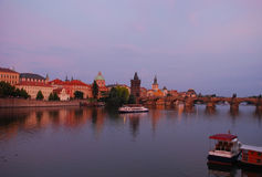 Prag at dusk, charles bridge Stock Photo