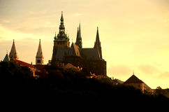 Prag evening silhouette Royalty Free Stock Photography