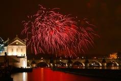 Prag-Feuerwerke des neuen Jahres Lizenzfreies Stockfoto