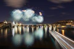 Prag-Feuerwerke nahe Charles Bridge, Prag, Tschechische Republik Lizenzfreie Stockfotografie