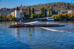 Prag, Fluss die Moldau stockbild