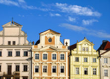 Prag-Häuser Stockfotografie