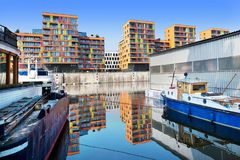 Prag-Jachthafen, Hafen Holesovice, Liben-Insel, Prag, Ceska-republika Prag, Tschechische Republik Alter Flusshafen auf Moldau-Flu Stockfotos