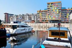 Prag-Jachthafen, Hafen Holesovice, Liben-Insel, Prag, Ceska-republika Prag, Tschechische Republik Alter Flusshafen auf Moldau-Flu Lizenzfreie Stockbilder
