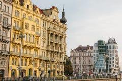 Prag, am 23. September 2017: Schöne Ansicht der Architektur von Prag in der Tschechischen Republik Ein Altbau nahe bei Stockfotografie