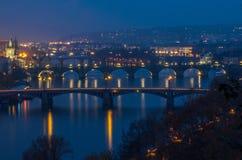 Prag am Sonnenuntergang Stockfotografie