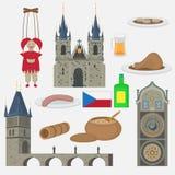 Prag-Stadt, Tschechische Republik Kirche der Mutter des Gottes vor Tyn, alter Marktplatz in der europäischen Stadt Berühmt, Touri vektor abbildung