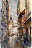 Prag-Straße. Aquarell Stockbilder