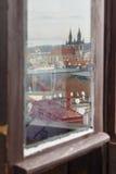 Prag, Tschechische Republik, alte Stadt in einem Retrostilwinter, kaltes Tonen färben Sie Bilder von Europa mit Raum für Text Stockbild