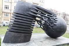 PRAG, TSCHECHISCHE REPUBLIK - 20. DEZEMBER 2015: Foto des Monumentphysikers Nikola Tesla Lizenzfreie Stockfotos