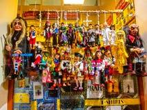 Prag, Tschechische Republik - 31. Dezember 2017: Traditionelle Marionetten gemacht vom Holz Shop in Prag Lizenzfreies Stockfoto