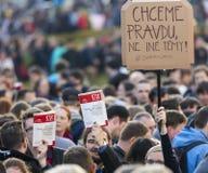 PRAG, TSCHECHISCHE REPUBLIK - 15. MAI 2017: Demonstration auf Quadrat Prags Wenceslas gegen die gegenwärtige Regierung und das Ba Stockbilder