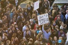 PRAG, TSCHECHISCHE REPUBLIK - 15. MAI 2017: Demonstration auf Quadrat Prags Wenceslas gegen die gegenwärtige Regierung und das Ba Stockfoto